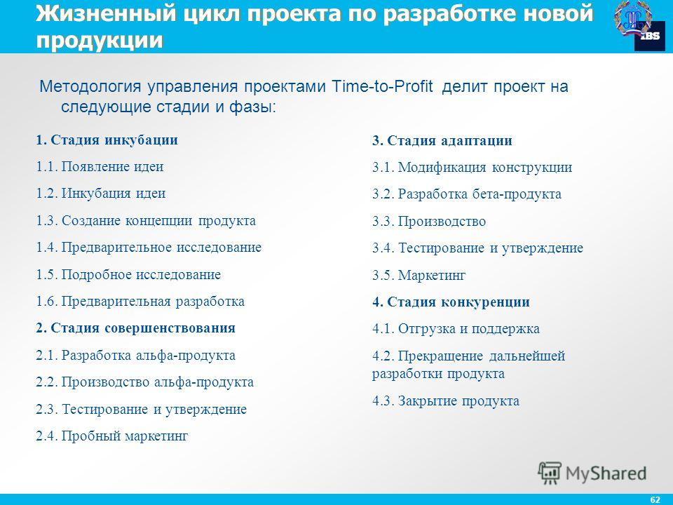62 Жизненный цикл проекта по разработке новой продукции Методология управления проектами Time-to-Profit делит проект на следующие стадии и фазы: 1. Стадия инкубации 1.1. Появление идеи 1.2. Инкубация идеи 1.3. Создание концепции продукта 1.4. Предвар