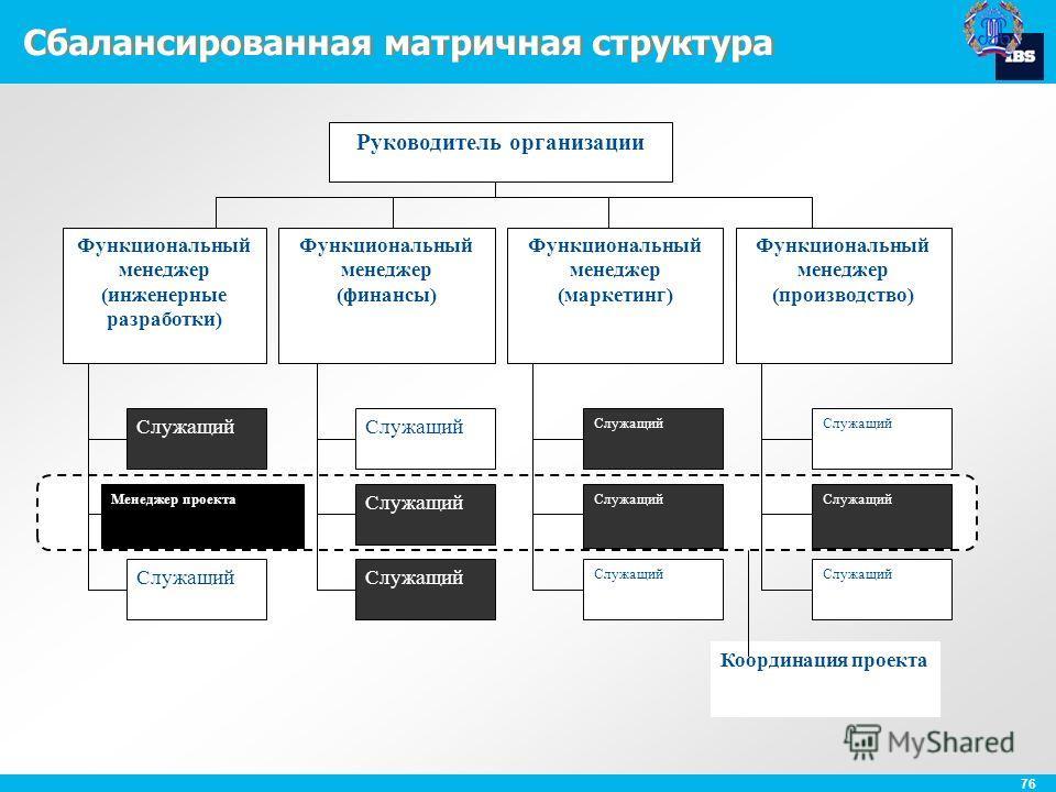 76 Сбалансированная матричная структура Координация проекта Руководитель организации Функциональный менеджер (инженерные разработки) Функциональный менеджер (финансы) Функциональный менеджер (маркетинг) Функциональный менеджер (производство) Служащий