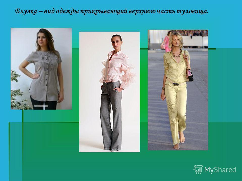 Блузка – вид одежды прикрывающий верхнюю часть туловища.