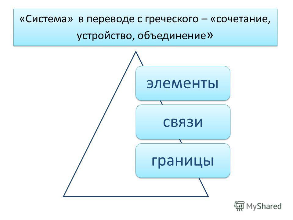 «Система» в переводе с греческого – «сочетание, устройство, объединение » элементысвязиграницы