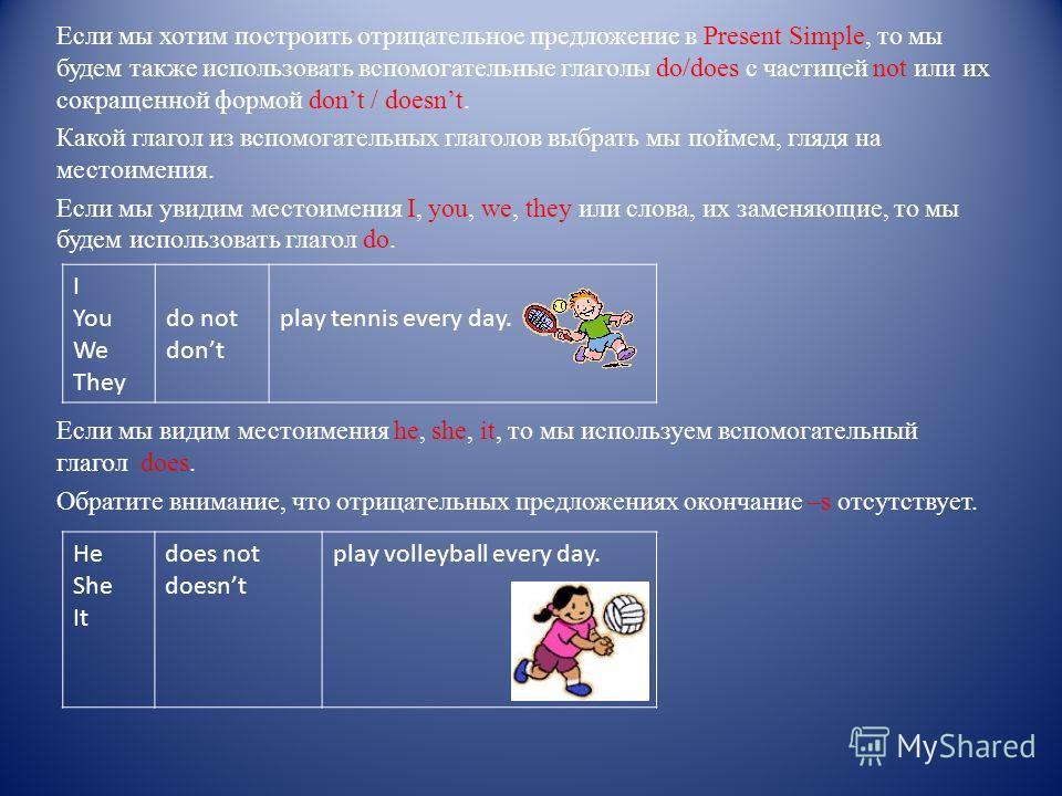 Если мы хотим построить отрицательное предложение в Present Simple, то мы будем также использовать вспомогательные глаголы do/does с частицей not или их сокращенной формой dont / doesnt. Какой глагол из вспомогательных глаголов выбрать мы поймем, гля
