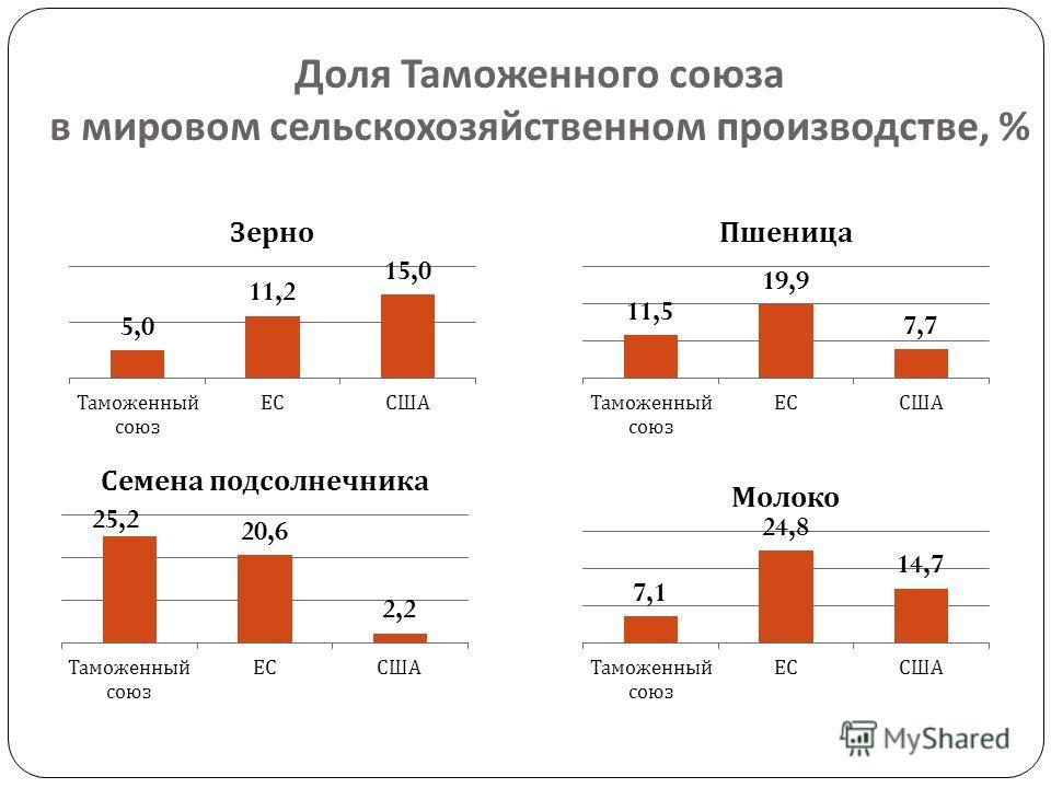 26 Доля Таможенного союза в мировом сельскохозяйственном производстве, %