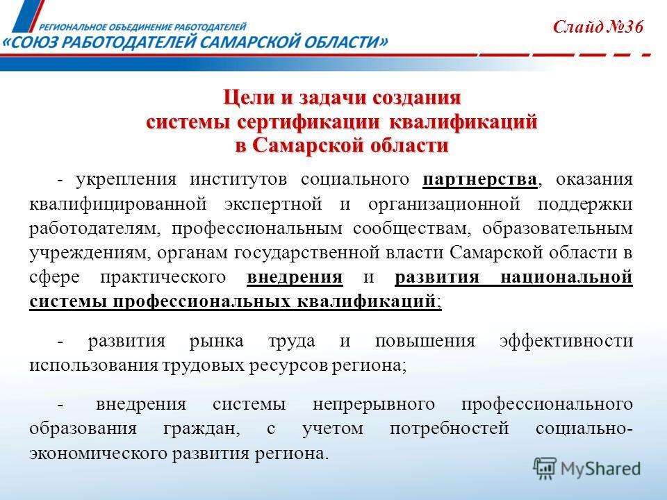 Цели и задачи создания системы сертификации квалификаций в Самарской области Слайд 36 - укрепления институтов социального партнерства, оказания квалифицированной экспертной и организационной поддержки работодателям, профессиональным сообществам, обра