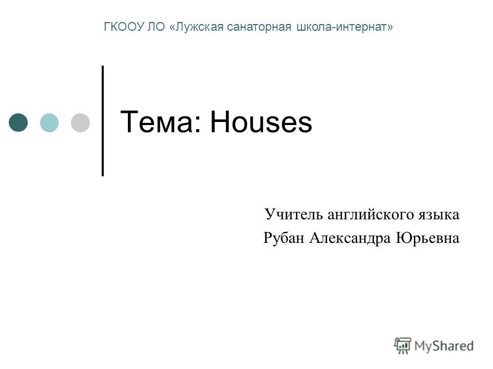 Тема: Houses Учитель английского языка Рубан Александра Юрьевна ГКООУ ЛО «Лужская санаторная школа-интернат»