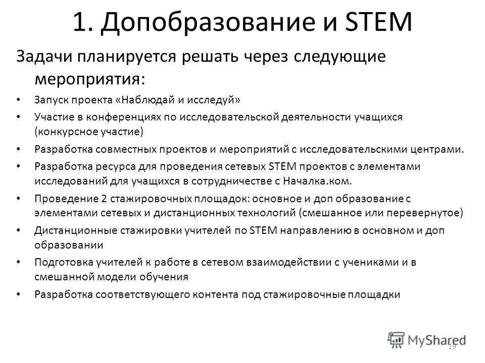 1. Допобразование и STEM Задачи планируется решать через следующие мероприятия: Запуск проекта «Наблюдай и исследуй» Участие в конференциях по исследовательской деятельности учащихся (конкурсное участие) Разработка совместных проектов и мероприятий с
