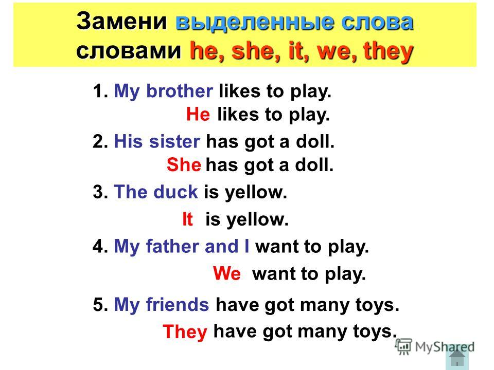 Замени выделенные слова словами he, she, it, we, they 1. My brother likes to play. likes to play. 2. His sister has got a doll. has got a doll. 3. The duck is yellow. is yellow. 4. My father and I want to play. want to play. 5. My friends have got ma