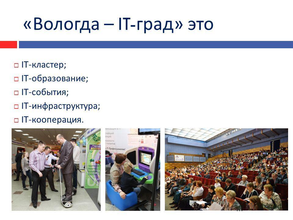 « Вологда – IT- град » это IT- кластер ; IT- образование ; IT- события ; IT- инфраструктура ; IT- кооперация.