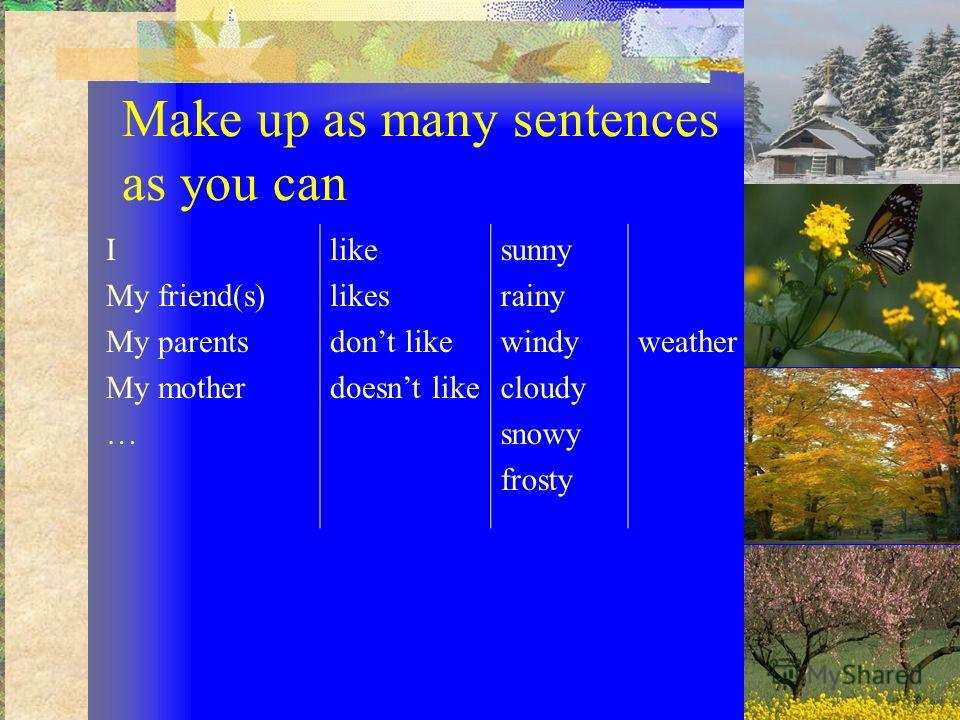 Make up as many sentences as you can I My friend(s) My parents My mother … like likes dont like doesnt like sunny rainy windy cloudy snowy frosty weather