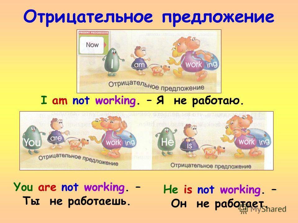 Отрицательное предложение He is not working. – Он не работает. I am not working. – Я не работаю. You are not working. – Ты не работаешь.