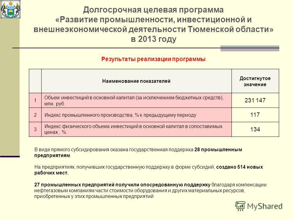 Долгосрочная целевая программа «Развитие промышленности, инвестиционной и внешнеэкономической деятельности Тюменской области» в 2013 году В виде прямого субсидирования оказана государственная поддержка 28 промышленным предприятиям. На предприятиях, п