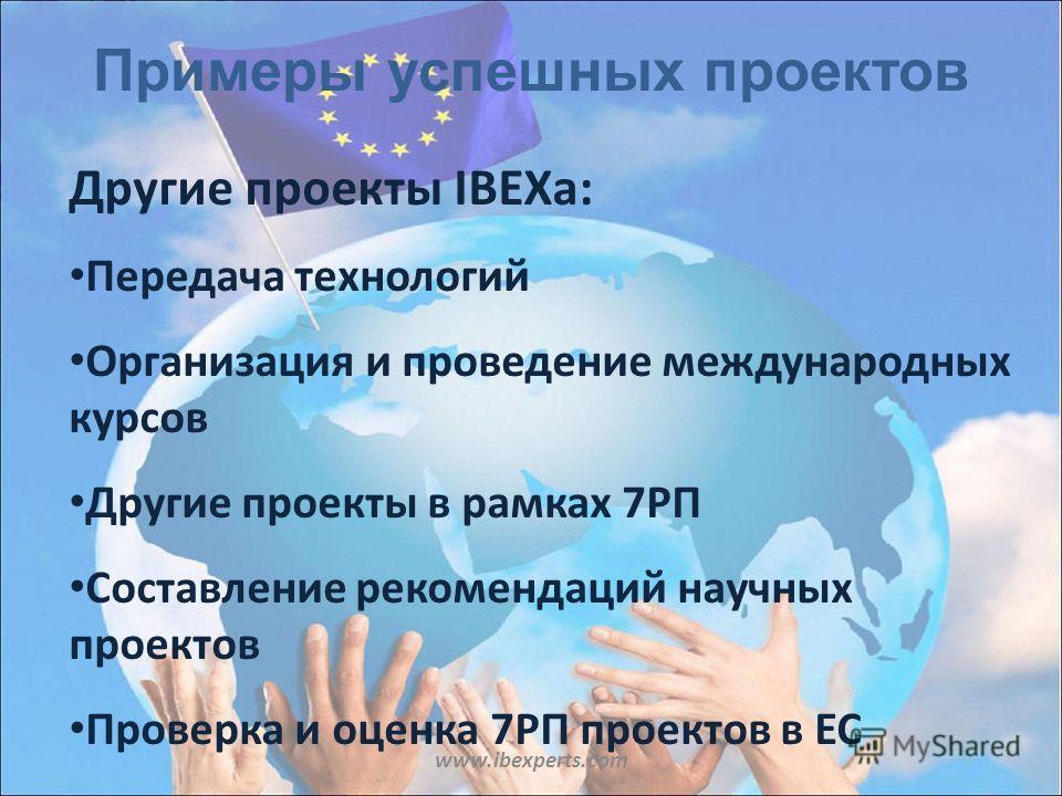 Примеры успешных проектов www.ibexperts.com Другие проекты IBEXа: Передача технологий Организация и проведение международных курсов Другие проекты в рамках 7РП Составление рекомендаций научных проектов Проверка и оценка 7РП проектов в ЕС