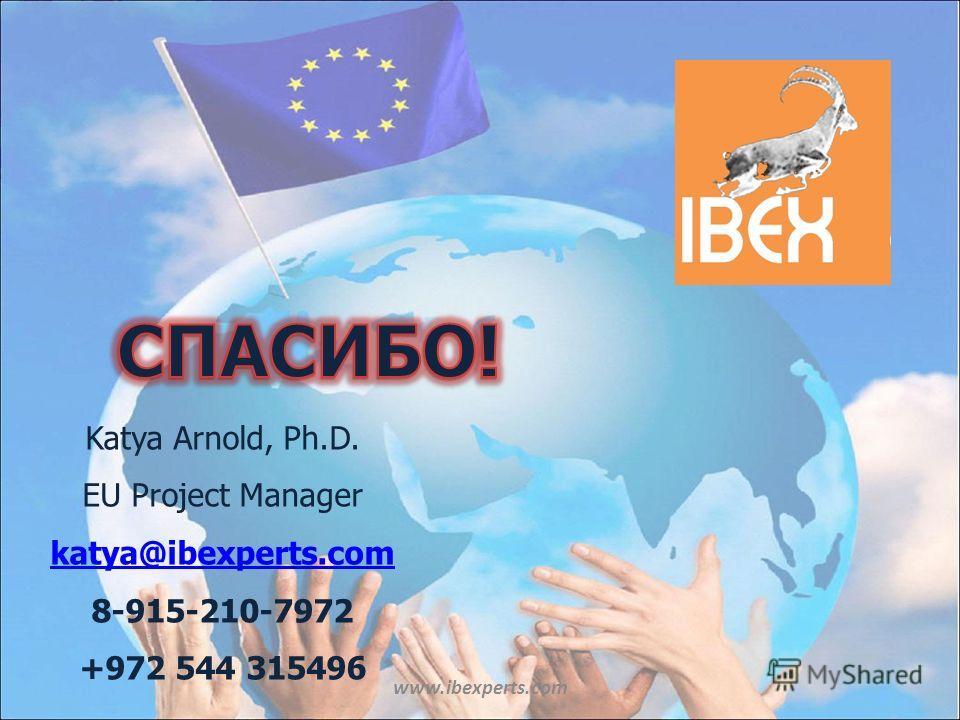 www.ibexperts.com Katya Arnold, Ph.D. EU Project Manager katya@ibexperts.com 8-915-210-7972 +972 544 315496