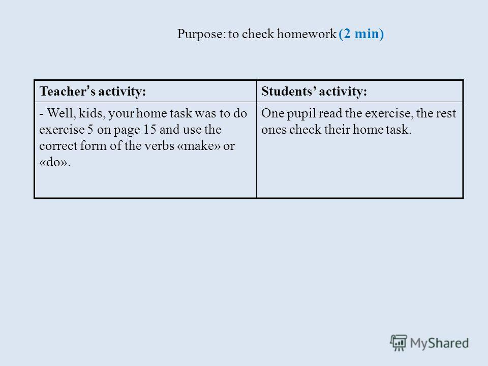 Purpose: to check homework (2 min) Teacher s activity: Students activity: - Well, kids, your home task was to do exercise 5 on page 15 and use the correct form of the verbs «make» or «do». One pupil read the exercise, the rest ones check their home t