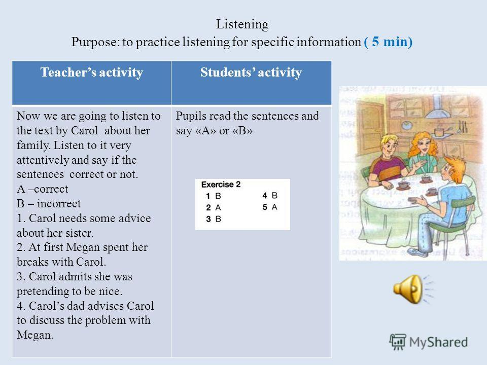 Listening Purpose: to practice listening for specific information ( 5 min) Teachers activityStudents activity Now we are going to listen to the text by Carol about her family. Listen to it very attentively and say if the sentences correct or not. A –