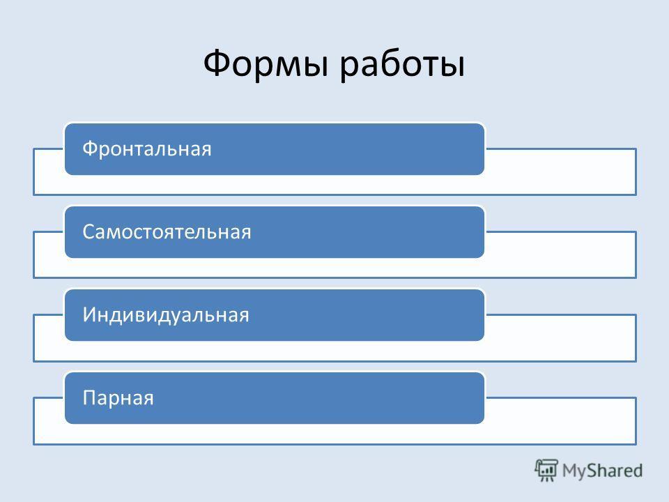 Формы работы ФронтальнаяСамостоятельнаяИндивидуальнаяПарная