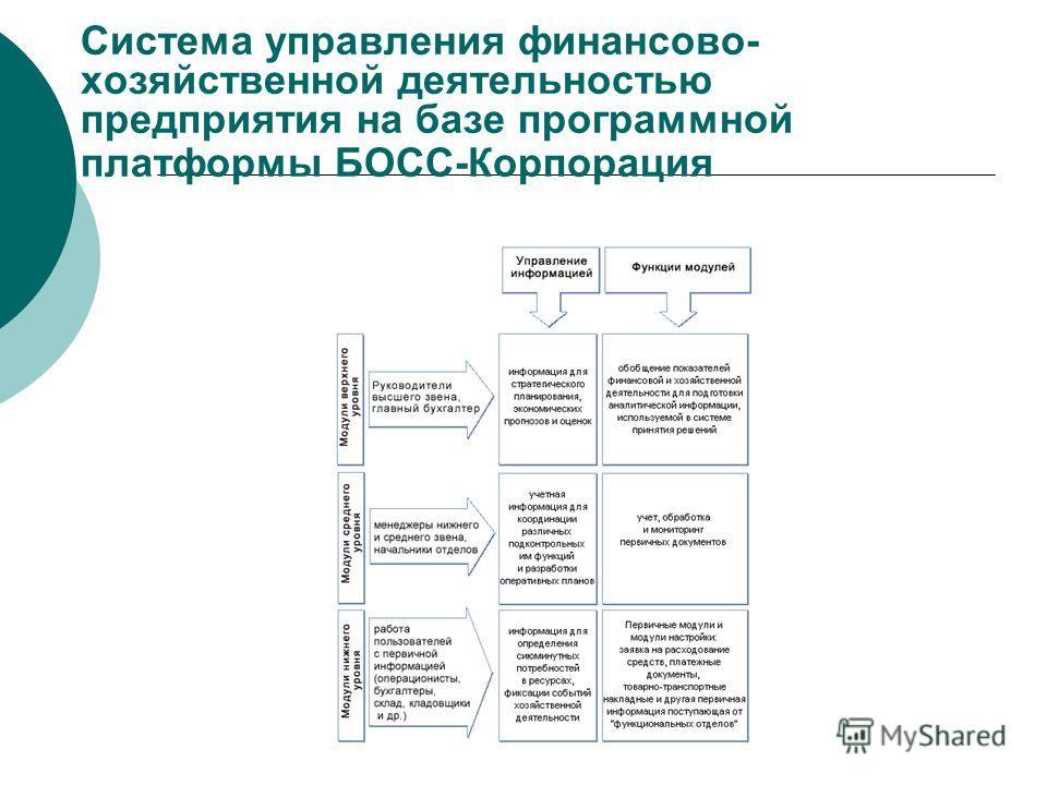 Система управления финансово- хозяйственной деятельностью предприятия на базе программной платформы БОСС-Корпорация
