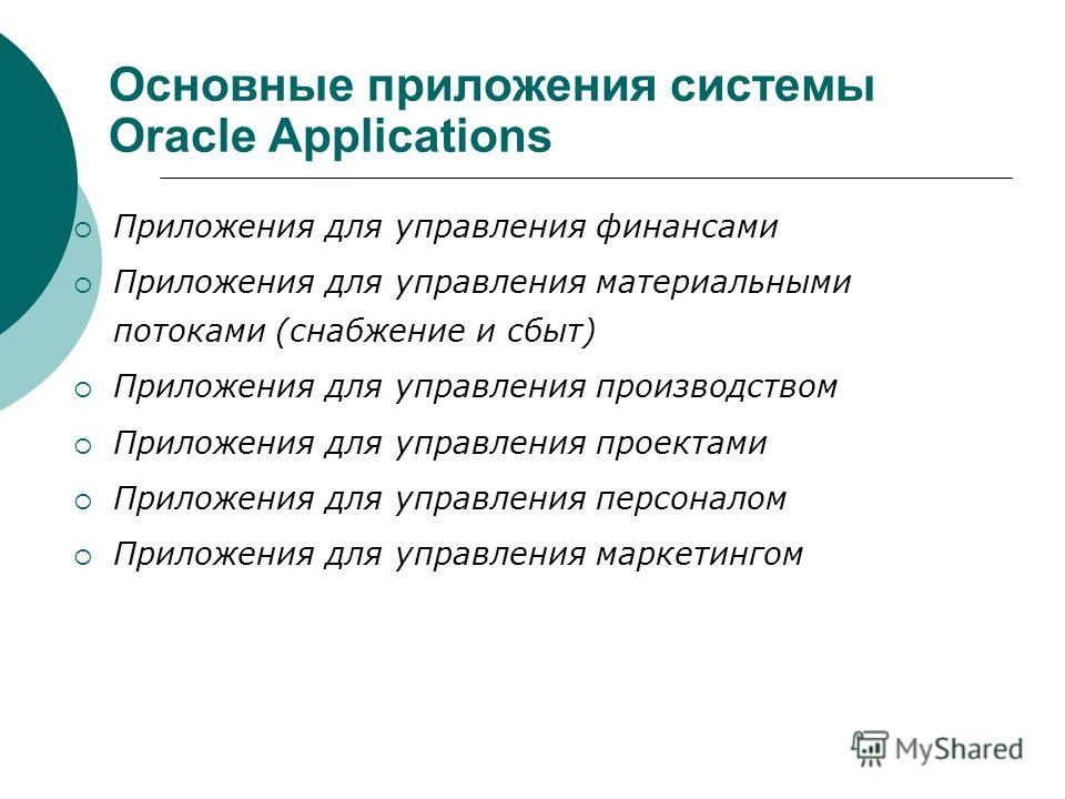 Основные приложения системы Oracle Applications Приложения для управления финансами Приложения для управления материальными потоками (снабжение и сбыт) Приложения для управления производством Приложения для управления проектами Приложения для управле