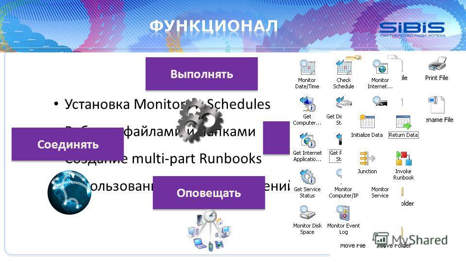Использование деревьев решений Установка Monitors и Schedules Работа с файлами и папками Создание multi-part Runbooks Соединять Выполнять Управлять Оповещать