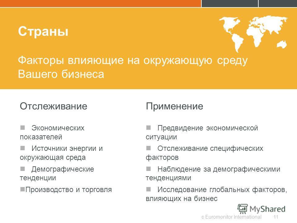© Euromonitor International11 Страны Факторы влияющие на окружающую среду Вашего бизнеса Отслеживание Экономических показателей Источники энергии и окружающая среда Демографические тенденции Производство и торговля Применение Предвидение экономическо