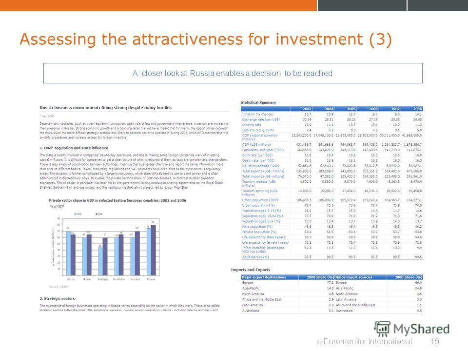 © Euromonitor International19 Assessing the attractiveness for investment (3) A closer look at Russia enables a decision to be reached