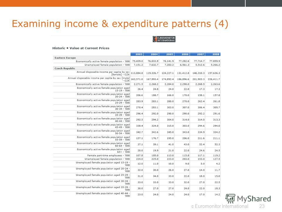 © Euromonitor International23 Examining income & expenditure patterns (4)