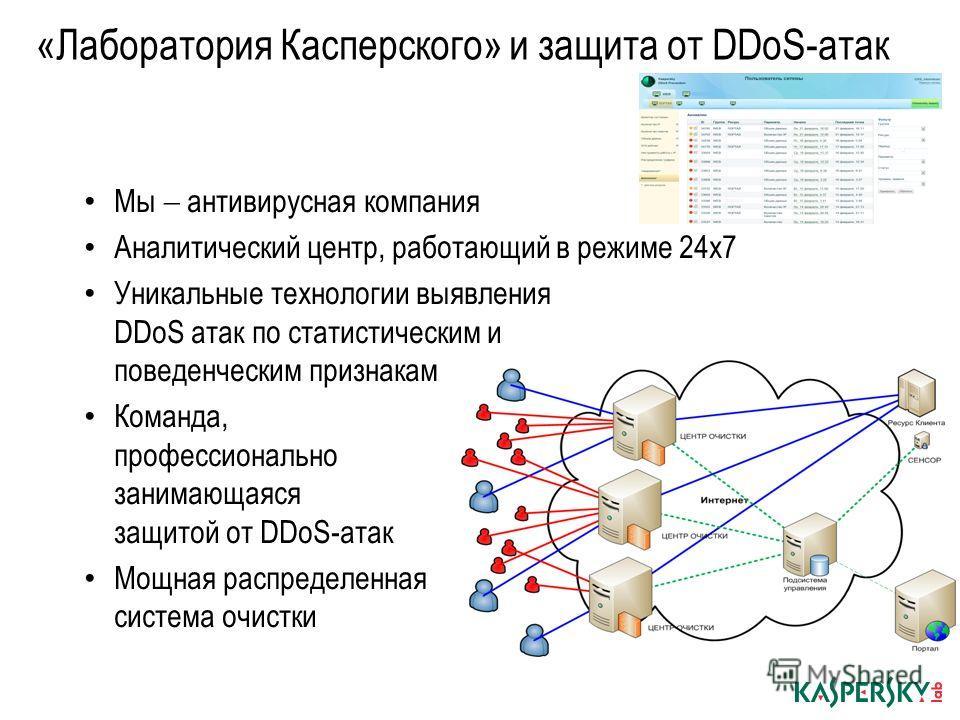«Лаборатория Касперского» и защита от DDoS-атак Мы антивирусная компания Аналитический центр, работающий в режиме 24х7 Уникальные технологии выявления DDoS атак по статистическим и поведенческим признакам Команда, профессионально занимающаяся защитой