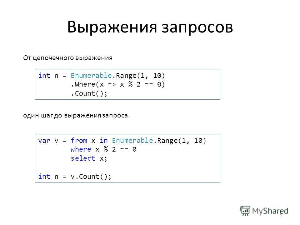Выражения запросов От цепочечного выражения 8 int n = Enumerable.Range(1, 10).Where(x => x % 2 == 0).Count(); var v = from x in Enumerable.Range(1, 10) where x % 2 == 0 select x; int n = v.Count(); один шаг до выражения запроса.