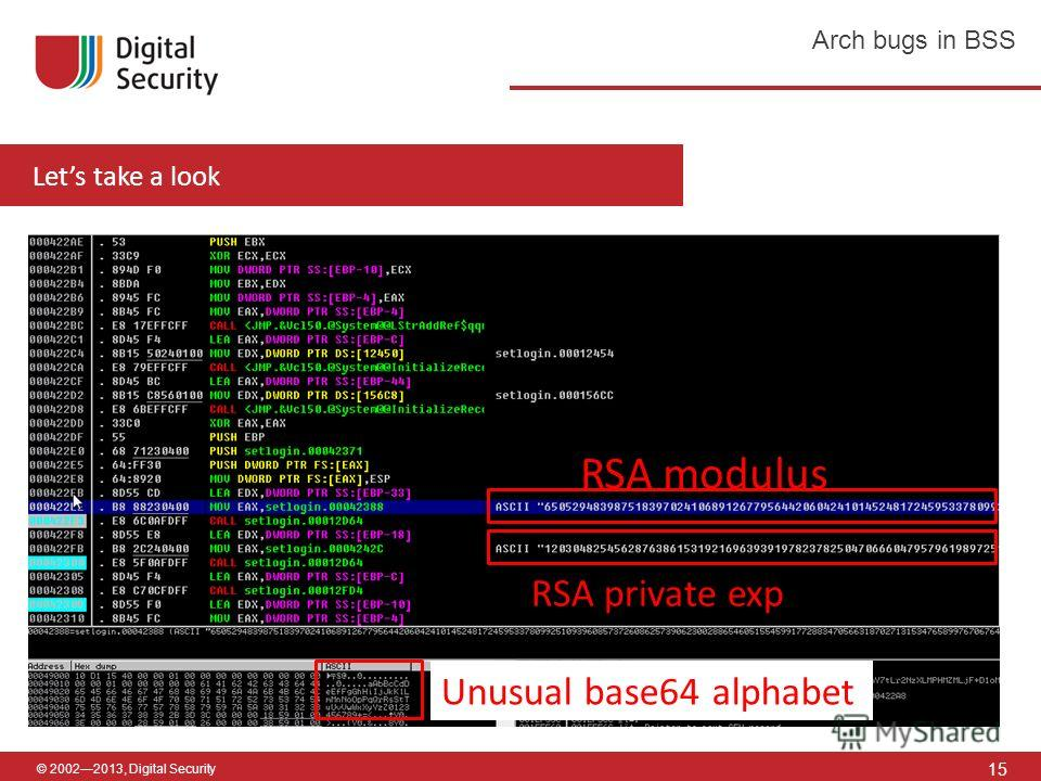 © 20022013, Digital Security 15 Arch bugs in BSS Lets take a look RSA modulus RSA private exp Unusual base64 alphabet