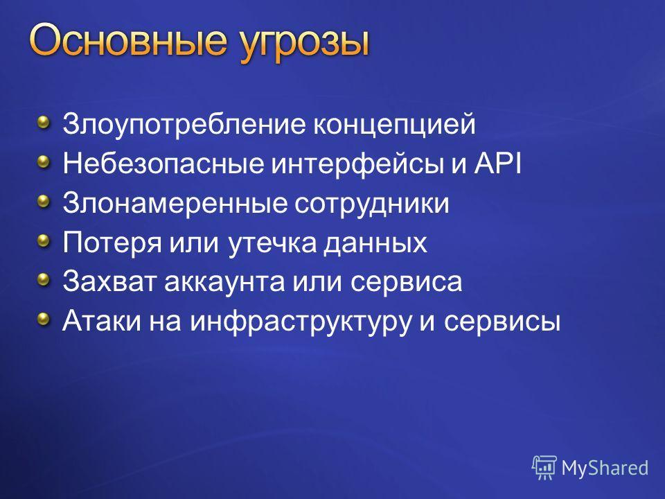 Злоупотребление концепцией Небезопасные интерфейсы и API Злонамеренные сотрудники Потеря или утечка данных Захват аккаунта или сервиса Атаки на инфраструктуру и сервисы