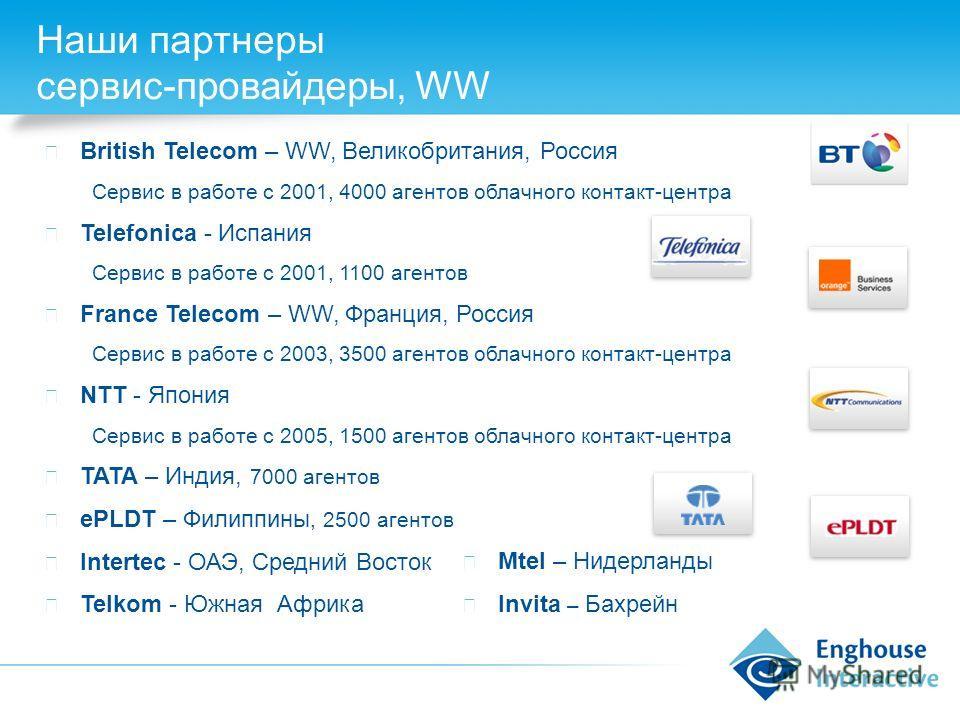 Наши партнеры сервис-провайдеры, WW British Telecom – WW, Великобритания, Россия Сервис в работе с 2001, 4000 агентов облачного контакт-центра Telefonica - Испания Сервис в работе с 2001, 1100 агентов France Telecom – WW, Франция, Россия Сервис в раб