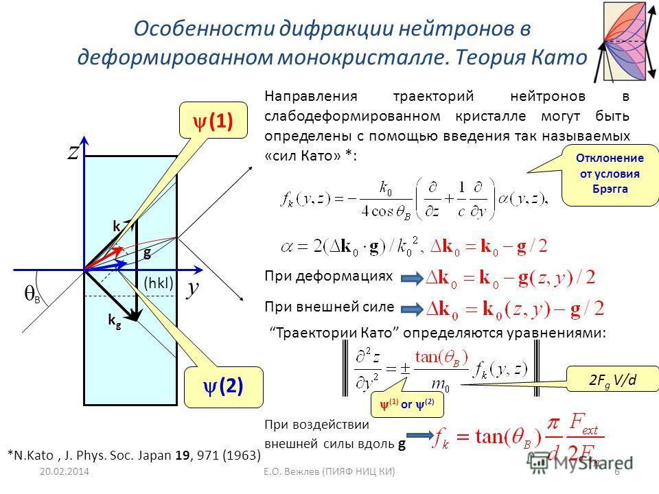 Особенности дифракции нейтронов в деформированном монокристалле. Теория Като Направления траекторий нейтронов в слабодеформированном кристалле могут быть определены с помощью введения так называемых «сил Като» *: (hkl) k kgkgkgkg g y z B (1) (2) *N.K