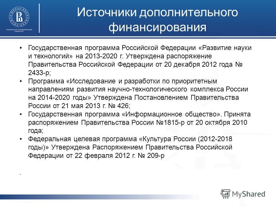 Источники дополнительного финансирования Государственная программа Российской Федерации «Развитие науки и технологий» на 2013-2020 г. Утверждена распоряжение Правительства Российской Федерации от 20 декабря 2012 года 2433-р; Программа «Исследование и