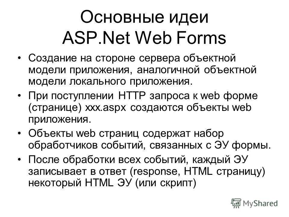 Основные идеи ASP.Net Web Forms Создание на стороне сервера объектной модели приложения, аналогичной объектной модели локального приложения. При поступлении HTTP запроса к web форме (странице) xxx.aspx создаются объекты web приложения. Объекты web ст