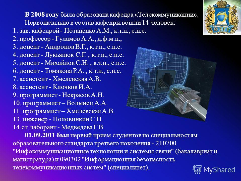 В 2008 году была образована кафедра « Телекоммуникации ». Первоначально в состав кафедры вошли 14 человек : 1. зав. кафедрой - Потапенко А. М., к. т. н., с. н. с. 2. профессор - Гуламов А. А., д. ф. м. н., 3. доцент - Андронов В. Г., к. т. н., с. н.