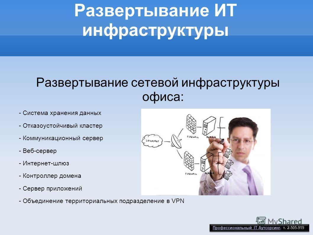 Развертывание ИТ инфраструктуры Развертывание сетевой инфраструктуры офиса: - Система хранения данных - Отказоустойчивый кластер - Коммуникационный сервер - Веб-сервер - Интернет-шлюз - Контроллер домена - Сервер приложений - Объединение территориаль