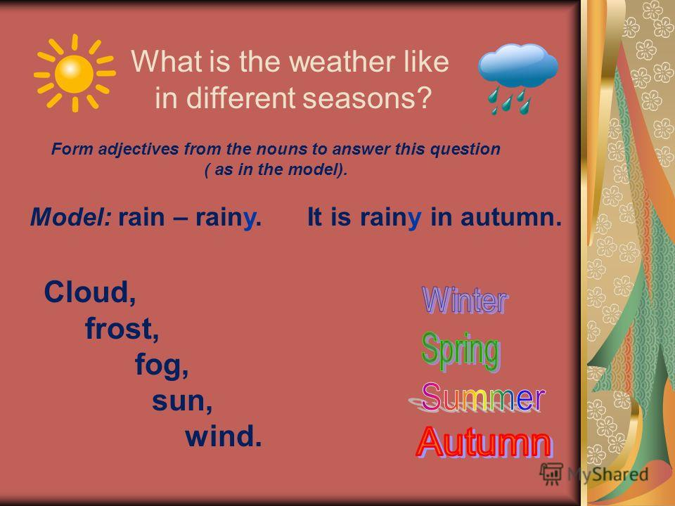 What is the weather like in different seasons? Form adjectives from the nouns to answer this question ( as in the model). Cloud, frost, fog, sun, wind. Model: rain – rainy. It is rainy in autumn.