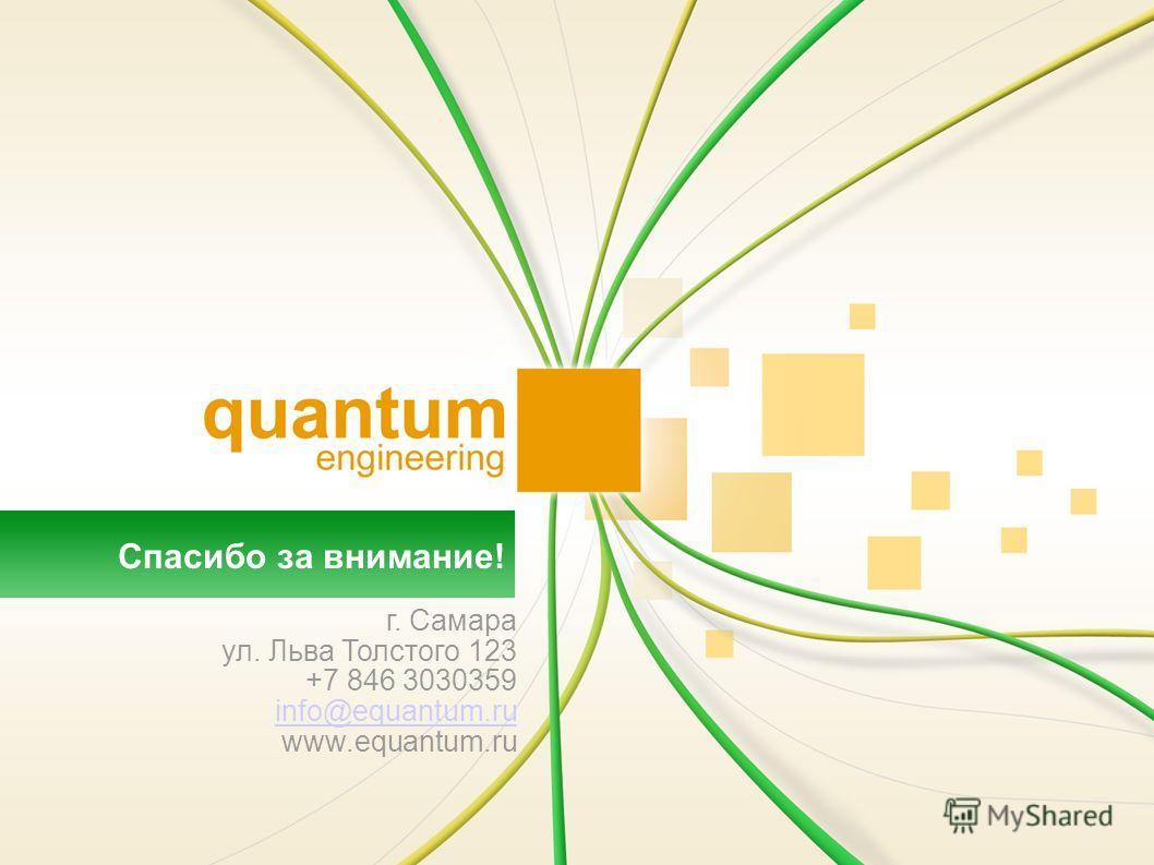 Спасибо за внимание! г. Самара ул. Льва Толстого 123 +7 846 3030359 info@equantum.ru www.equantum.ru
