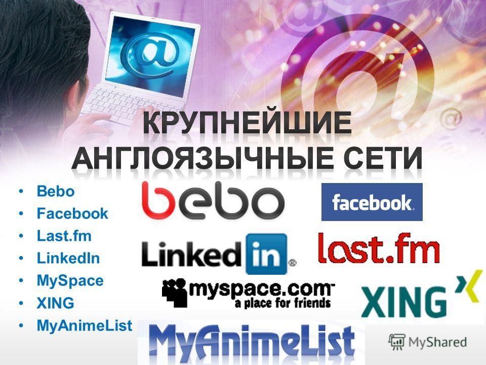 Bebo Facebook Last.fm LinkedIn MySpace XING MyAnimeList