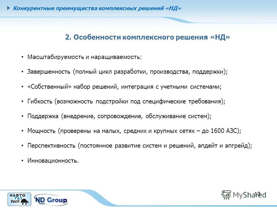 Конкурентные преимущества комплексных решений «НД» 2. Особенности комплексного решения «НД» Масштабируемость и наращиваемость; Завершенность (полный цикл разработки, производства, поддержки); «Собственный» набор решений, интеграция с учетными система