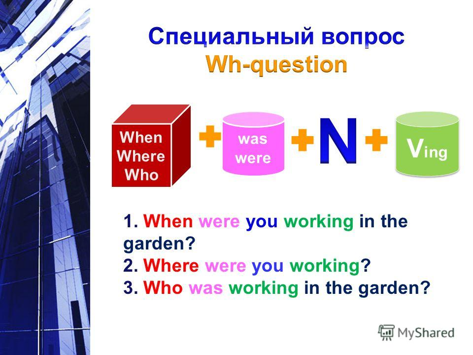 was were V ing V ing 1. When were you working in the garden? 2. Where were you working? 3. Who was working in the garden? When Where Who