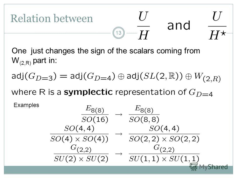 Relation between 13 One just changes the sign of the scalars coming from W (2,R) part in: Examples