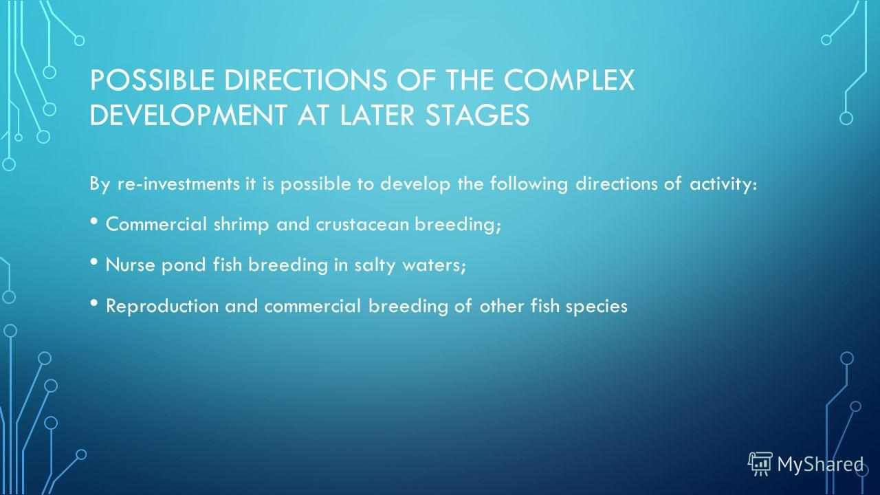 POSSIBLE DIRECTIONS OF THE COMPLEX DEVELOPMENT AT LATER STAGES By re-investments it is possible to develop the following directions of activity: Commercial shrimp and crustacean breeding; Nurse pond fish breeding in salty waters; Reproduction and com