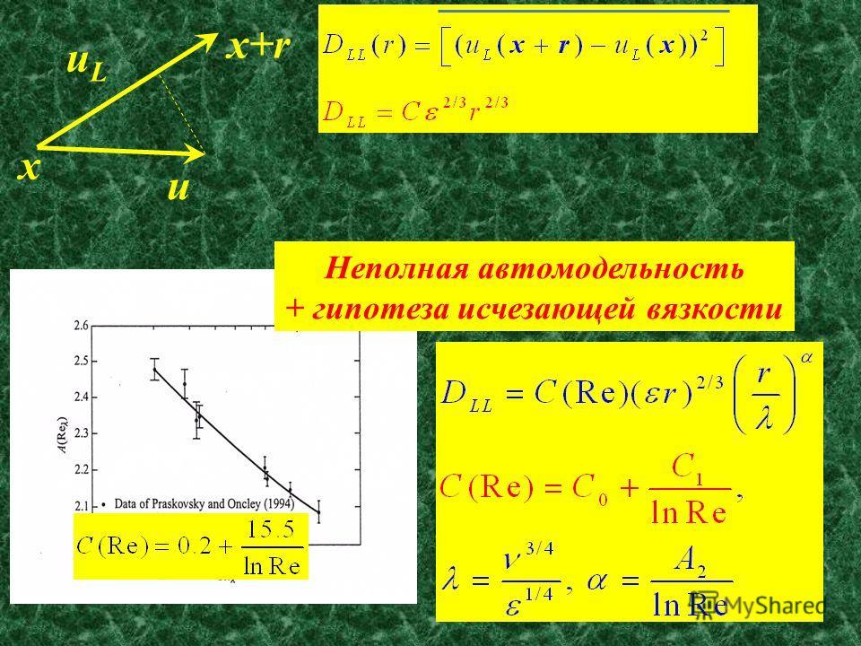 36 x x+r u uLuL Неполная автомодельность + гипотеза исчезающей вязкости