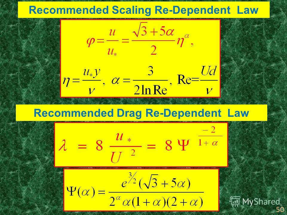 50 Recommended Scaling Re-Dependent Law Recommended Drag Re-Dependent Law