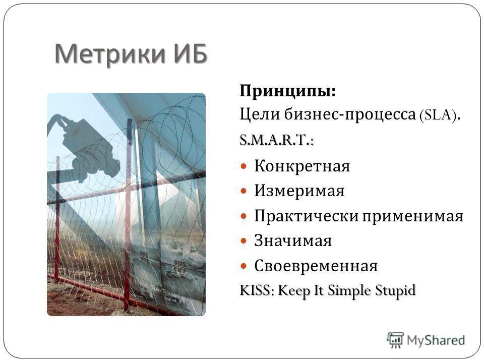 Метрики ИБ Принципы : Цели бизнес - процесса (SLA). S.M.A.R.T.: Конкретная Измеримая Практически применимая Значимая Своевременная KISS: Keep It Simple Stupid