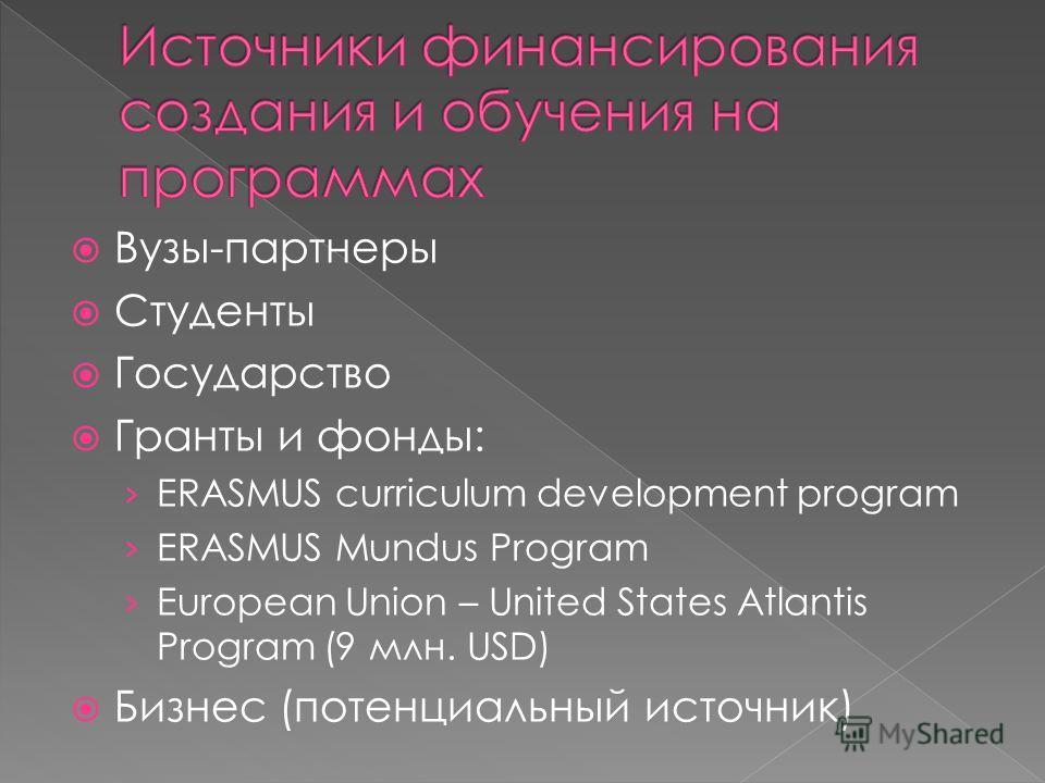Вузы-партнеры Студенты Государство Гранты и фонды: ERASMUS curriculum development program ERASMUS Mundus Program European Union – United States Atlantis Program (9 млн. USD) Бизнес (потенциальный источник)