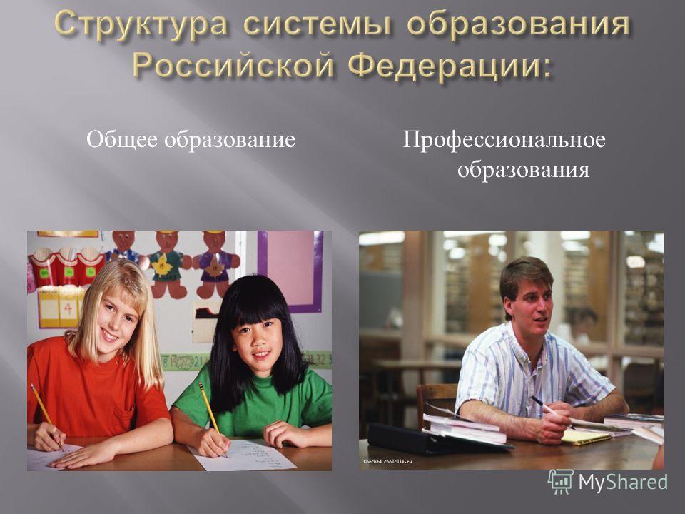 Общее образование Профессиональное образования