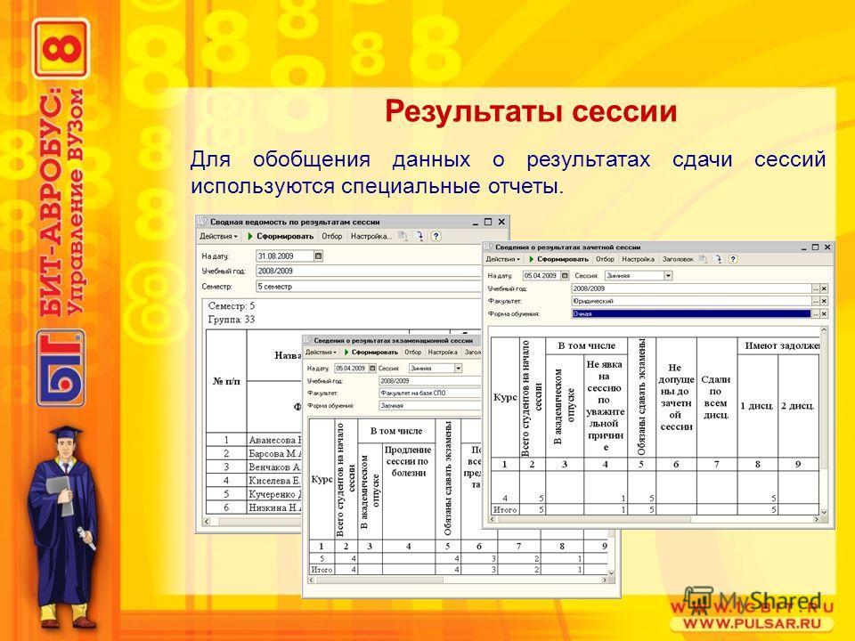 Для обобщения данных о результатах сдачи сессий используются специальные отчеты. Результаты сессии