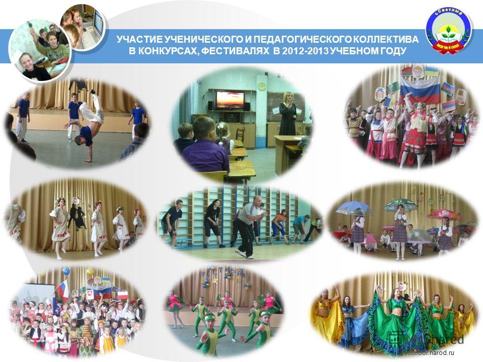 www.Svetly5school.narod.ru УЧАСТИЕ УЧЕНИЧЕСКОГО И ПЕДАГОГИЧЕСКОГО КОЛЛЕКТИВА В КОНКУРСАХ, ФЕСТИВАЛЯХ В 2012-2013 УЧЕБНОМ ГОДУ
