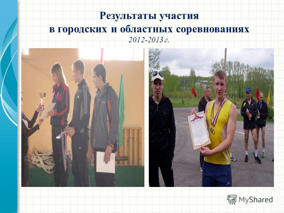 Результаты участия в городских и областных соревнованиях 2012-2013 г.